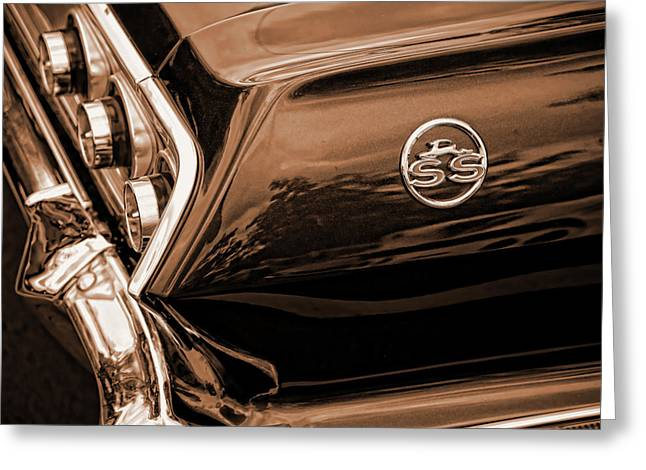 1963 Chevy Impala Ss Sepia Greeting Card by Gordon Dean II