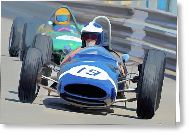 1963 Cooper T66 Coming Out Of Monaco's Mirabeau Greeting Card by Wally Hampton