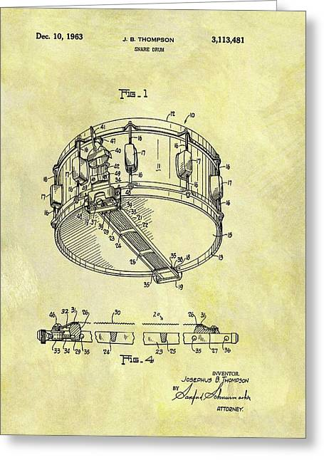 1963 Drum Patent Greeting Card by Dan Sproul