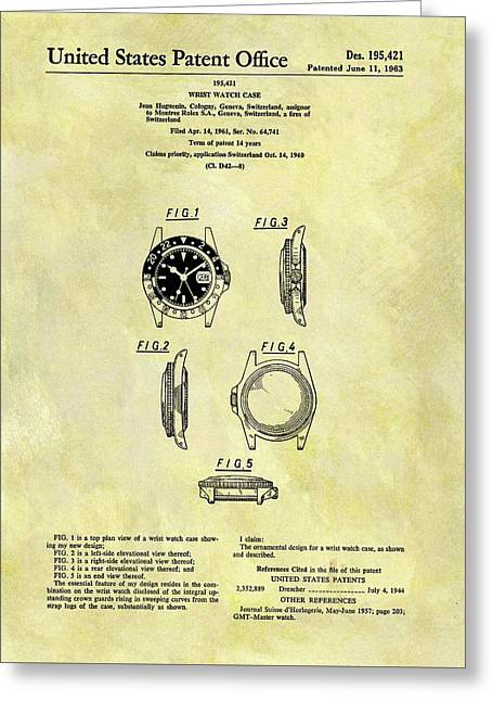 1963 Rolex Watch Patent Greeting Card by Dan Sproul