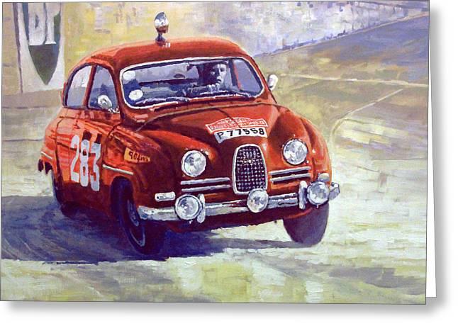 1963 Saab 96 #283  Rallye Monte Carlo  Carlsson Palm Winner Greeting Card