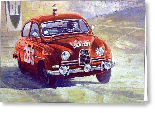 1963 Saab 96 #283  Rallye Monte Carlo  Carlsson Palm Winner Greeting Card by Yuriy Shevchuk