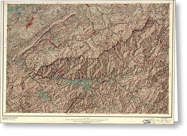 1963 Smoky Mountains Map Greeting Card by Dan Sproul