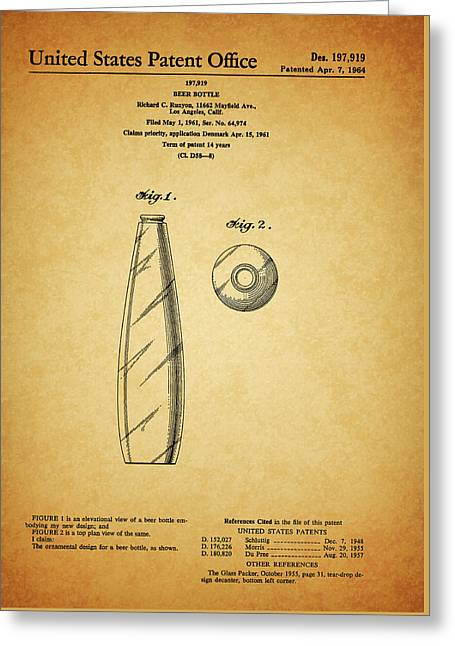 1964 Beer Bottle Patent Greeting Card