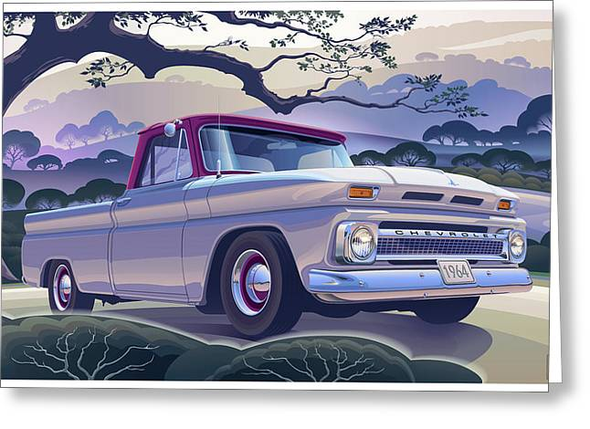 1964 Chevrolet Short Bed Custom Half Ton In The Morning Mist Greeting Card