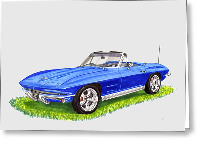 Greeting Card featuring the painting 1964 Corvette Stingray by Jack Pumphrey