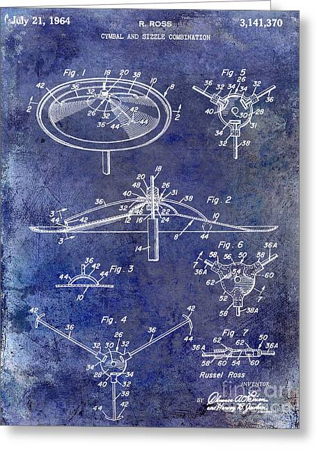 1964 Cymbal Patent Blue Greeting Card
