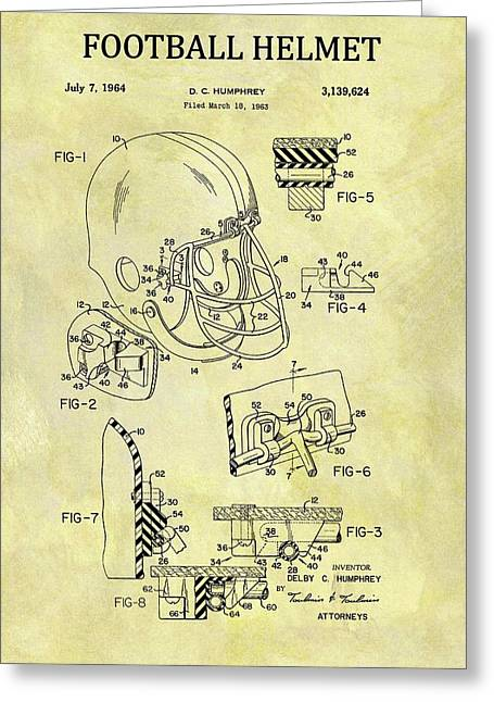 1964 Football Helmet Patent Greeting Card by Dan Sproul