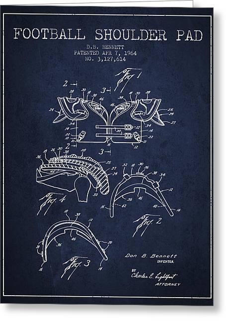 1964 Football Shoulder Pad Patent - Navy Blue Greeting Card