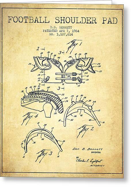 1964 Football Shoulder Pad Patent - Vintage Greeting Card