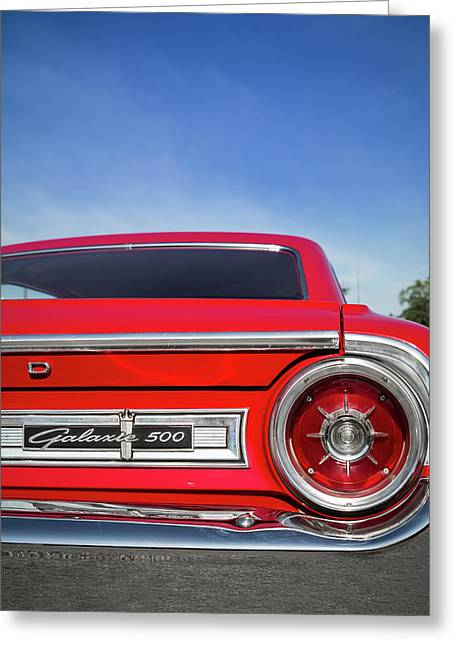 1964 Ford Galaxie 500 Taillight And Emblem Greeting Card by Ron Pate