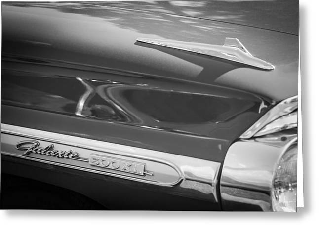 1964 Ford Galaxie 500 Xl Emblem -0042bw Greeting Card by Jill Reger