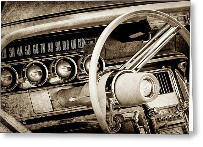 Greeting Card featuring the photograph 1964 Ford Thunderbird Steering Wheel -0280s by Jill Reger