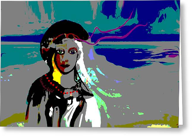 Greeting Card featuring the digital art 1964 - Walk On The Seaside by Irmgard Schoendorf Welch