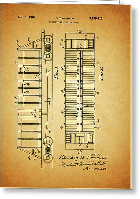 1964 Railroad Car Patent Greeting Card by Dan Sproul