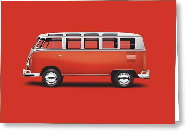 1964 Volkswagen Deluxe Station Wagon - Sealing Wax Red Greeting Card by Ed Jackson