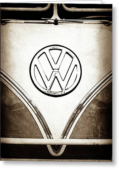 1964 Volkswagen Vw Samba 21 Window Bus Emblem -1307s Greeting Card by Jill Reger