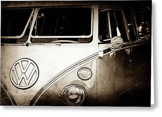 1964 Volkswagen Vw Samba 21 Window Bus Emblem -1313s Greeting Card by Jill Reger