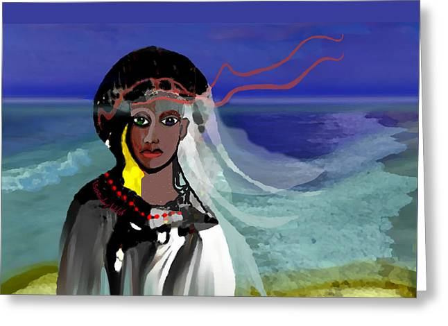 Greeting Card featuring the digital art 1965 - Walk On The Oceanside by Irmgard Schoendorf Welch