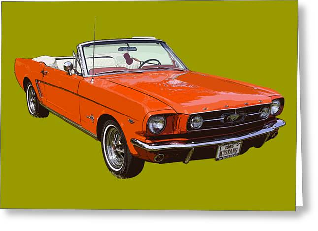1965 Red Convertible Ford Mustang - Classic Car Greeting Card