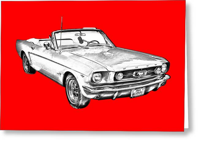 1965 Red Ford Mustang Convertible Drawing Greeting Card by Keith Webber Jr