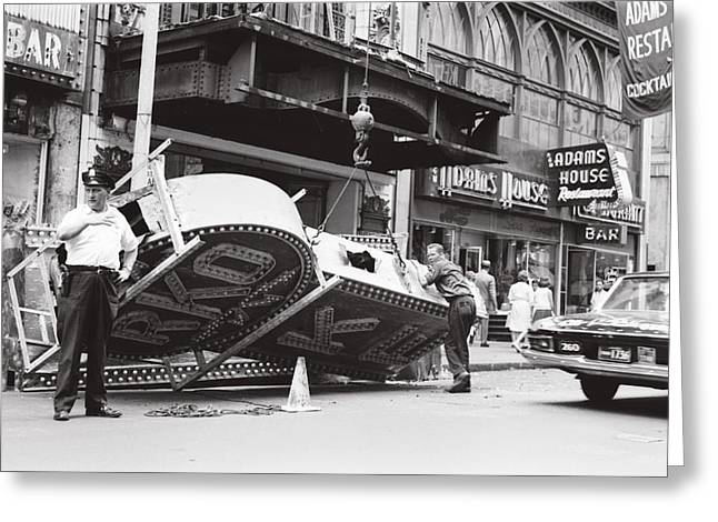 Greeting Card featuring the photograph 1965 Removing Rko Theater Sign Boston by Historic Image
