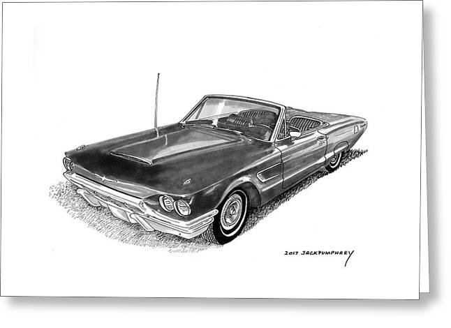 Greeting Card featuring the drawing 1965 Thunderbird Convertible By Ford by Jack Pumphrey