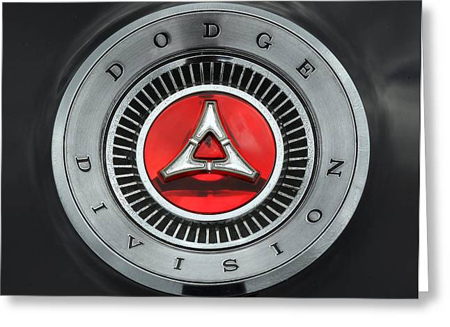1966 1967 Dodge Charger Trunk Emblem - Dodge Division Greeting Card by Gordon Dean II