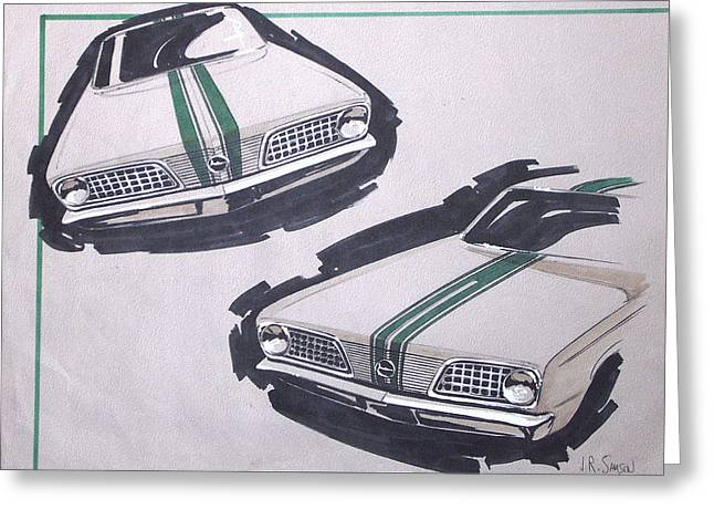 Runner Mixed Media Greeting Cards - 1966 BARRACUDA  Plymouth vintage styling design concept rendering sketch Greeting Card by John Samsen