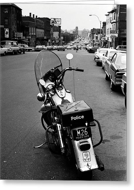 1966 Boston Police Motorcycle In Southie Greeting Card