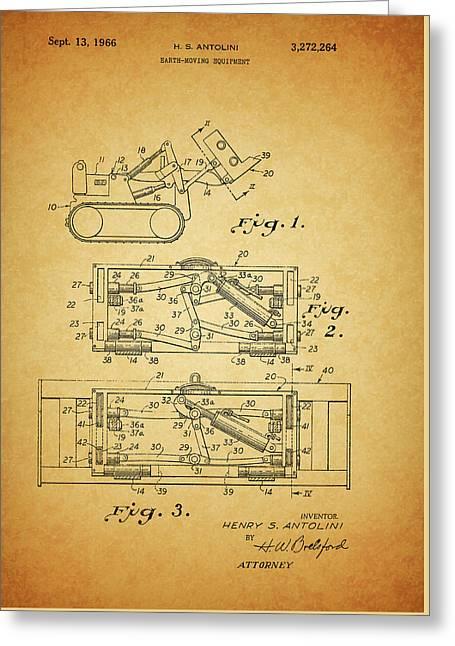 1966 Bulldozer Patent Greeting Card
