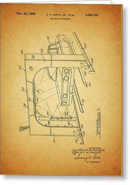 1966 Car Wash Patent Greeting Card
