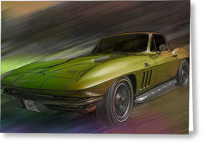 1966 Corvette Greeting Card by Larry Helms
