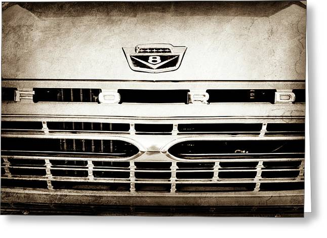 1966 Ford F100 Pickup Truck Grille Emblem -113s Greeting Card