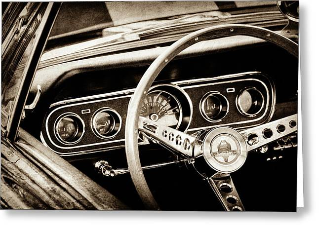 1966 Ford Mustang Cobra Steering Wheel -0338s Greeting Card by Jill Reger