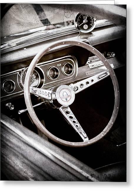 1966 Ford Mustang Cobra Steering Wheel Emblem -0091ac Greeting Card