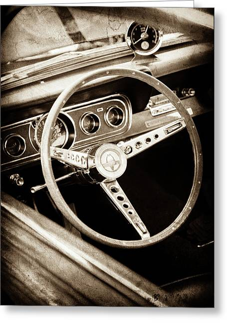 1966 Ford Mustang Cobra Steering Wheel Emblem -0091s Greeting Card by Jill Reger