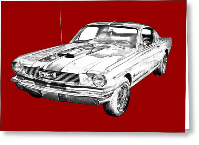 1966 Ford Mustang Fastback Illustration Greeting Card by Keith Webber Jr