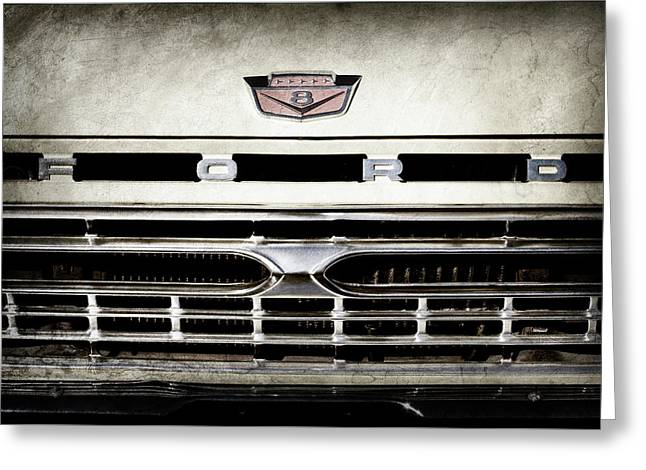 1966 Ford Pickup Truck Grille Emblem -0154ac Greeting Card