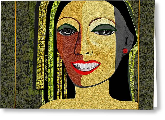 Greeting Card featuring the digital art 1966 - Lady With Beautiful Teeth by Irmgard Schoendorf Welch