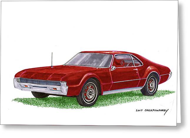 Greeting Card featuring the painting 1966 Oldsmobile Toronado by Jack Pumphrey