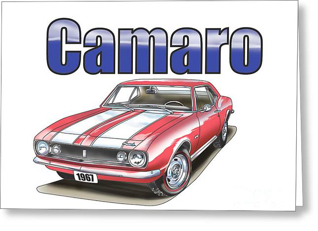 Greeting Card featuring the digital art 1967 Camaro by Thomas J Herring