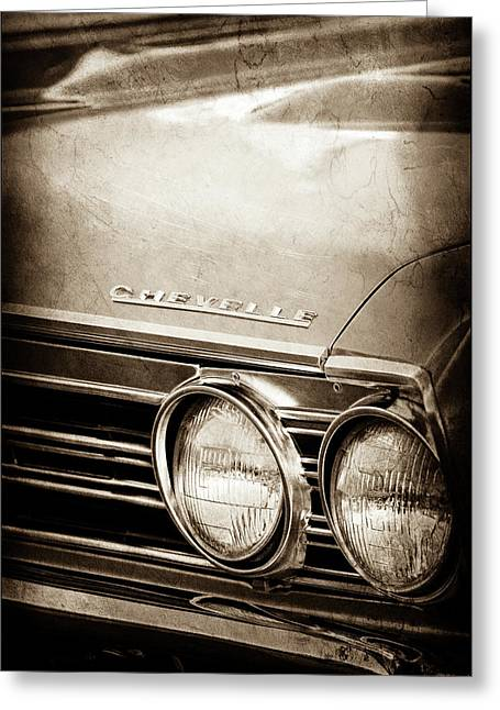 Greeting Card featuring the photograph 1967 Chevrolet Chevelle Ss Super Sport Emblem -0413s by Jill Reger