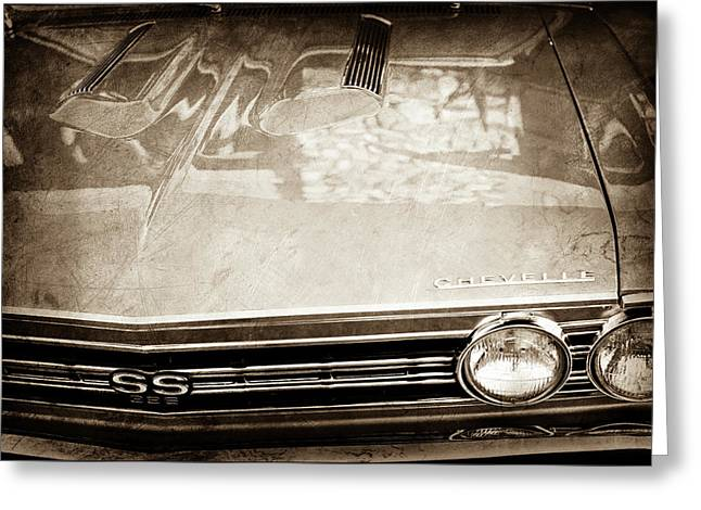 1967 Chevrolet Chevelle Super Sport Grille Emblem -0043s Greeting Card