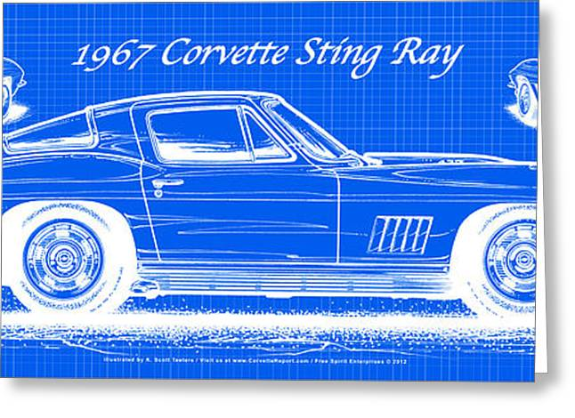 1967 Corvette Sting Ray Coupe Reversed Blueprint Greeting Card