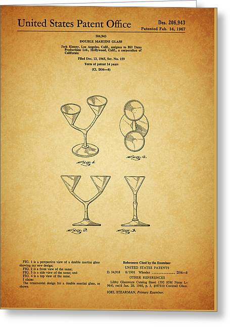 1967 Double Martini Glass Greeting Card