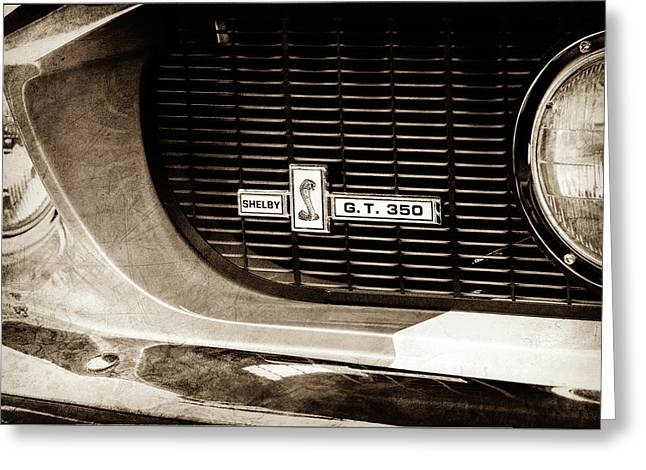Greeting Card featuring the photograph 1967 Ford Gt 350 Shelby Clone Grille Emblem -0759s by Jill Reger