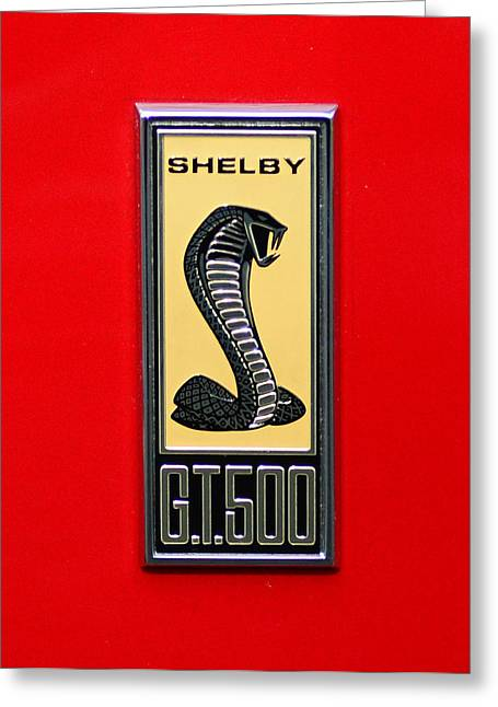 1967 Ford Shelby Gt 500 Cobra Fender Emblem On Red Greeting Card by Paul Ward