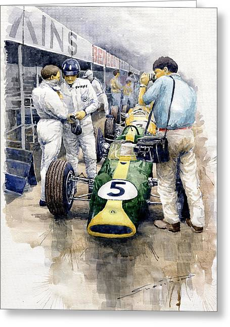 1967 Lotus 49t Ford Coswoorth Jim Clark Graham Hill Greeting Card by Yuriy Shevchuk