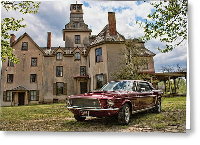 1967 Mustang At The Mansion Greeting Card